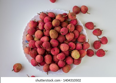 Lychees Fruit on white background (Lichi, Litche, Litchi, Leechi)