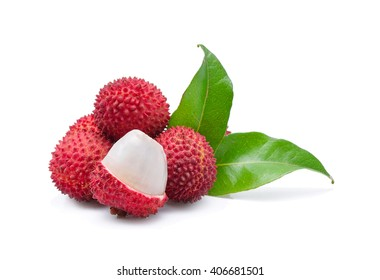 lychees isolated on the white background
