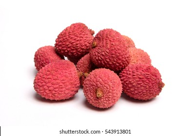 Lychees isolated on white background