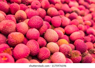 Lychees in the stack of supermarket