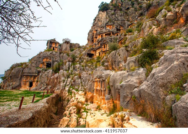 Lycian rock cut tombs carved into the hillside of Myra, Turkey