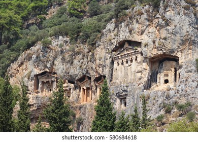Lycian rock cut tombs of Dalyan.(Lykia)  Ancient region of Anatolia, Turkey