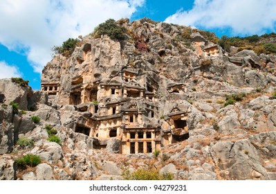 Lycian rock-cut tombs in Myra, Turkey