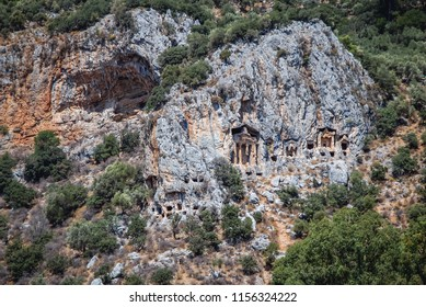 Lycian tombs of ancient Kaunos town near Dalyan village in Mugla Province of Turkey
