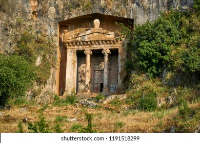 Lycian tombs carved in the rock, Fethiye, Turkey