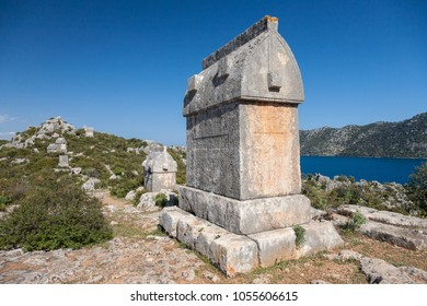 Lycian tombs in Kalekoy (Simena), lying on a Lycian way,  long distance trekking route passing through Simena, Turkey