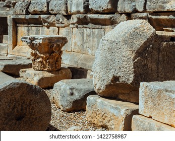 Lycian tombs of Mira Fragments of ruins of the Greek columns and walls in Demre