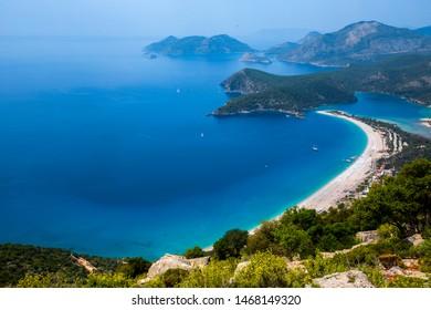 Lycian Way trail. Trekking in Lycian Way. Oludeniz beach view from Babadag mountain.