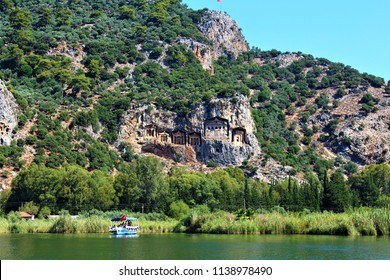 The Lycian/Kaunian rock Tombs in the mountain above the Dalyan river.