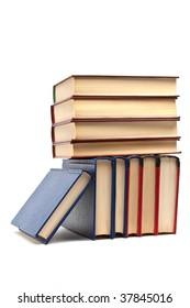 lying books on white