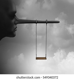 Lying to children and trust psychology of lies to kids concept as a playground child swing hanging from a long nose as an indoctrination or brainwashing symbol with 3D illustration elements.