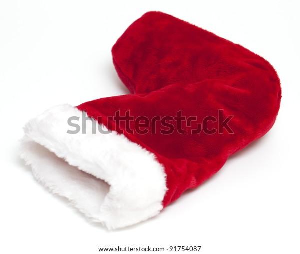 lying christmas sock isolated on white background