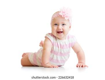 lying happy baby girl isolated on white background