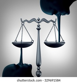 Lying justice concept and committing perjury symbol as a law scale being balanced by the long nose of liers making false statements as a metaphor for dishonesty and lack of integrity.