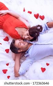 lying lovers romantic scene rose bed