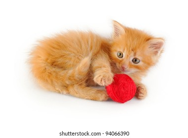 lying red kitten with red clew, isolated on white background