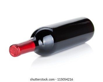Lying red wine bottle. Isolated on white background