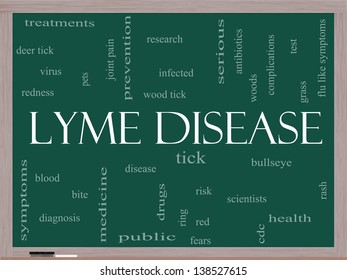 Lyme Disease Word Cloud Concept on a Blackboard with great terms such as deer tick, blood, bullseye, bite and more.