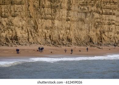 LYME REGIS, DORSET/UK - MARCH 22 : Jurassic Coastline at Lyme Regis in Dorset on March 22, 2017. Unidentified people