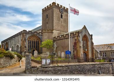 LYME REGIS, ENGLAND - MAY 12, 2009: The parish church of St Michael the Archangel, above Church Cliff. Lyme Regis. West Dorset. England