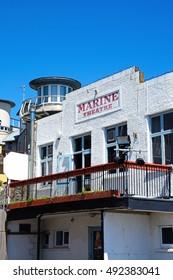 LYME REGIS, UNITED KINGDOM - JULY 18, 2016 - View of the Marine Theatre at Gun Cliff Walk, Lyme Regis, Dorset, England, UK, Western Europe, July 18, 2016.