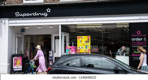 Lymington, United Kingdom - July 22 2018:   The front of Superdrug shop in the High Street