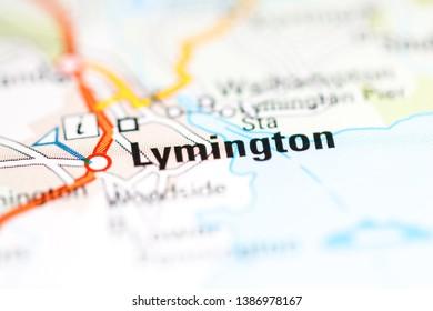 Lymington. United Kingdom on a geography map