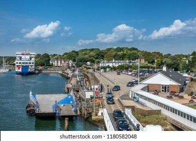 Lymington,England on 1st Sept 2018:Lymington Ferry Terminal is in the English county of Hampshire and links foot and car passengers between the port and Yarmouth on the Isle of Wight