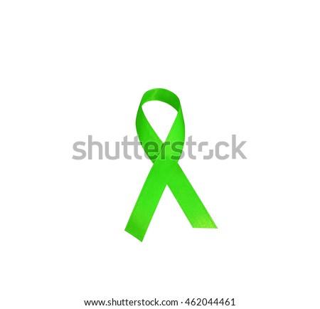 Lymphoma Cancer Awareness Green Ribbon Symbolic Stock Photo Edit