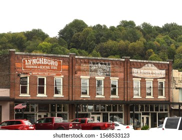 Lynchburg, TN, USA - September 23, 2019:  Lynchburg Hardware and General Store, Jack Daniels and Barrel shop in the traditional commercial block close to the Jack Daniels Distillery.