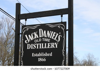 Lynchburg, TN/USA-March 3, 2012:Sign at the Entrance of the Jack Daniels Distillery