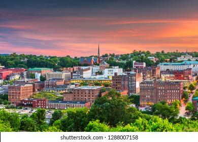 Lynchburg, Virginia, USA downtown city skyline at dusk.