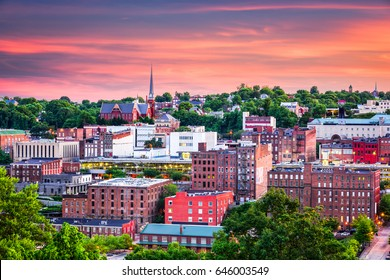 Lynchburg, Virginia, USA downtown city skyline at dusk.