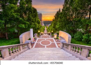 Lynchburg, Virginia, USA downtown at Monument Terrace.