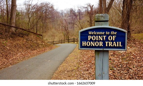 Lynchburg, Virginia / USA - March 2, 2020: The beginning of the Point of Honor Trail, an offshoot of the Blackwater Creek Bikeway, in Lynchburg, Virginia.