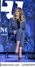 Lynchburg, Virginia / USA - Nov. 28, 2018: First Lady of the U.S. Melania Trump participating in a town hall discussion of the opioid crisis in America hosted by Liberty University on Nov. 28, 2018.