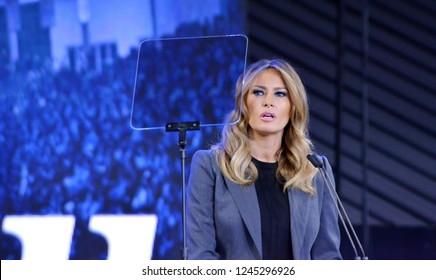 Lynchburg, Virginia / USA - Nov. 28, 2018: First Lady of the U.S. Melania Trump participating in a town hall discussion of the opioid crisis in America hosted by Liberty University.