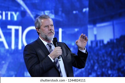 Lynchburg, Virginia / USA - November 28, 2018: Liberty University President Jerry Falwell Jr. introducing a town hall discussion on the opioid crisis at Liberty University on November 28, 2018.