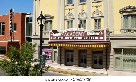 Lynchburg, Virginia / USA - September 4, 2019: The historic Academy of Music Theater first opened in 1905, closed in 1958, and reopened after renovation on December 6, 2018.