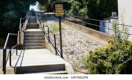 """Lynchburg, Virginia / USA - September 4, 2019: Municipal steps leading to the upper level of Lynchburg, locally known as the """"Hill City."""""""