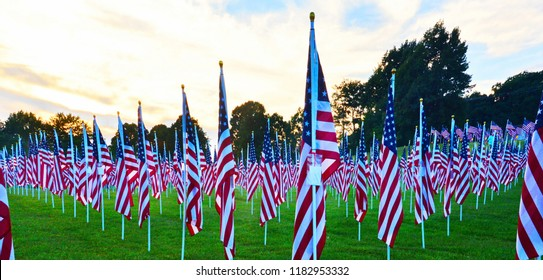 """Lynchburg, Virginia / USA - September 5, 2018: A Rotary Club """"Field of Honor"""" honoring veterans and first responders in Lynchburg. Virginia, on September 5, 2018."""