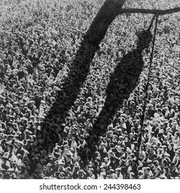 Lynching. The shadow of lynching painted over a crowd of white people. In the 1920 and 1930s, the NAACP created and distributed lynching-related images. ca. 1930s