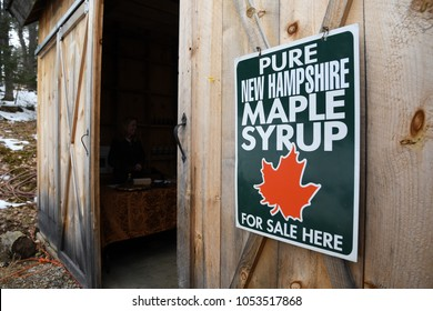 Lyndeborough, N.H./USA - March 24, 2018: The entrance to a sugar shack on New Hampshire Maple Weekend. Syrup producers open their shacks to the public on Maple Weekend.