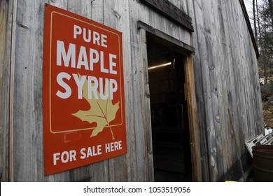 Lyndeborough, N.H./USA - March 24, 2018: Entrance to a sugar shack on New Hampshire Maple Weekend. Syrup producers open their shacks to the public on Maple Weekend.