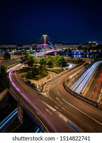 Lyon, Auvergne / France - September 25, 2019:  Timelapse Photo of Highway with city view during night time