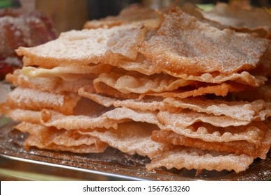 lyon bugnes. French pastry with sugar. crispy and appetizing