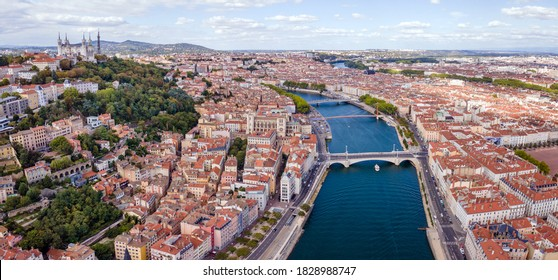 Lyon city aerial panoramic view, France, beautiful architecture of church Basilique Notre Dame de Fourviere, panorama cityscape with Saone river from above