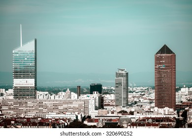 Lyon city bird-fly view from the hill, France, tourism concept