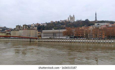Lyon city center with river, France