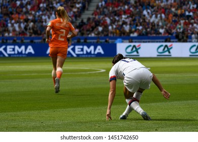 Lyon, France - 07 July 2019: Alex Morgan pushes getting up off the ground after being fouled, USA V Netherland's FIFA Women's World Cup 2019 Final